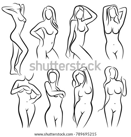 Young Female Body Outline Silhouettes Vector Beauty Logos Woman Sketch Sexy Figure