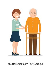 Young female caretaker helping senior man to use walking frame. Social workers concept. Vector flat  illustration