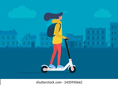 Young female character with backpack ride modern urban transport electric kick scooter. Active hipster adult millennial uses lifestyle ecology technologies. Vector illustration on cityscape