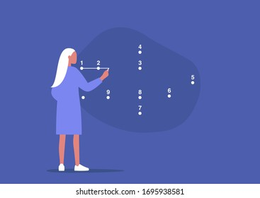 Young female character connecting the dots, step by step strategic plan, problem solving