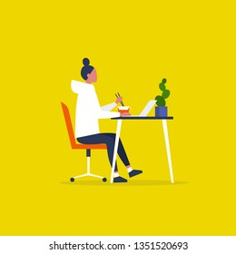Young female character eating an asian take away lunch and working on the computer. Modern manager. Workaholic. Millennials at work. Flat editable vector illustration, clip art
