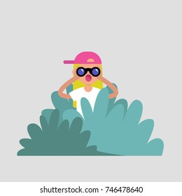 Young female character hiding in the bushes and looking through binoculars. Spying, conceptual illustration. Special agent. Secret mission. Sneak peek. Flat vector illustration, clip art