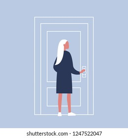 Young female character holding a door knob. Entering the building. Flat editable vector illustration, clip art