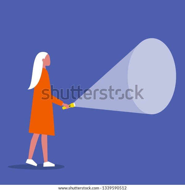 Young female character holding a flashlight. Your text here / Flat editable vector illustration, clip art
