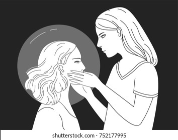 Young female character holding head of another woman hand drawn in black and white colors. Concept of empathy, psychological aid, self reflection, introspection. Monochrome vector illustration.