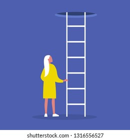 Young female character holding a ladder. Going up. Successful career. Opportunities. Conceptual vector illustration, clip art
