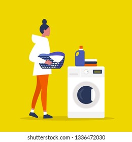 Young female character holding a laundry basket. Laundromat. Detergent. Daily chores concept. Flat editable vector illustration, clip art
