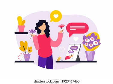 Young female character is learning floristry through online courses. Woman watching floristry training video on tablet and learning to make bouquets of flowers. Flat vector illustration