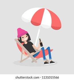 Young female character sitting in a chaise lounge under the beach umbrella and drinking beer. Vacation. Summer. Weekend. Outdoor. Flat editable vector illustration, clip art