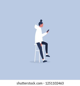 Young female character sitting on the bar stool and holding a smartphone. Millennial lifestyle. Social media. Flat editable vector illustration, clip art