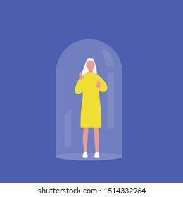 Young female character trapped under the glass dome calling for help. Mental health concept. Flat editable vector illustration, clip art