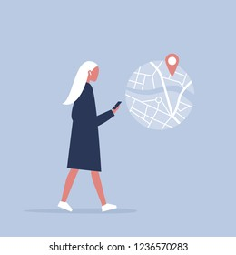 Young female character using a navigational app. Map and geo tag. Millennials and devices. Flat editable vector illustration, clip art
