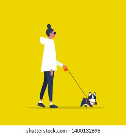 Young female character walking with a dog on a leash. Recreation. Outdoor. Modern lifestyle. Flat editable vector illustration, clip art