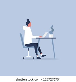 Young female character working in the office. Furniture. Cabinet. Workspace. Millennials at work. Flat editable vector illustration, clip art