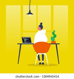 Young female character working on a computer. Programming code. Front end, Back end developer. Flat editable vector illustration, clip art. Millennials at work.