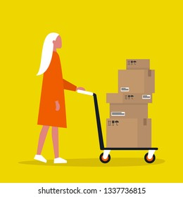Young female courier rolling a pushcart. Cargo. Delivery service. Flat editable vector illustration, clip art