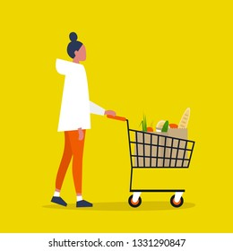 Young female Customer. Grocery store. A client buying groceries at the supermarket. Daily life. Flat editable vector illustration, clip art