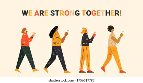 Young female flat characters protesting concept. People walking around concept. Human rights. Black lives matter. Vector illustration in modern colorful style.