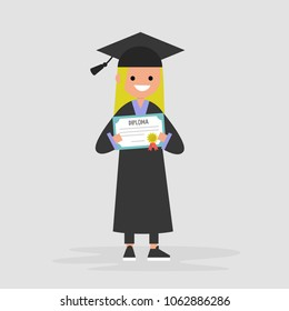 Young female graduate wearing a black robe and holding a diploma certificate. Graduation. Flat editable vector illustration, clip art