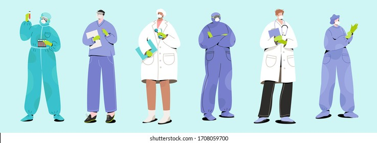 Young female and male doctors and nurses in face masks with medical gears. Modern vector illustration of person characters in gloves and headgears. Stop Coronavirus concept.