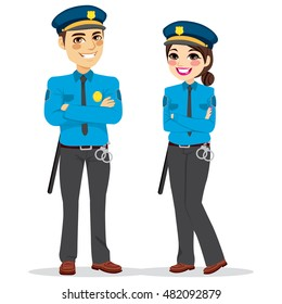 Young female and male police officers standing isolated on white background