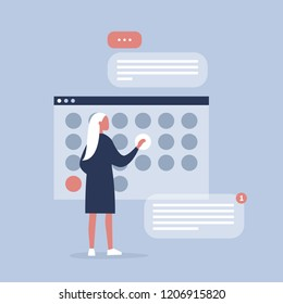 Young female manager planning the project in digital calendar. Organising the working process. Deadlines. Office life. Flat editable vector illustration, clip art