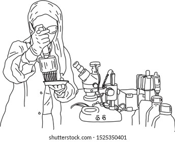 young female scientist doing an experiment in the laboratory vector illustration sketch doodle hand drawn with black lines isolated on white background. Education concept.