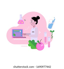 Young female scientist or nutritionist working at the laptop. Work in the laboratory, scientific experiment.  Doctor is researching and developing a vaccine