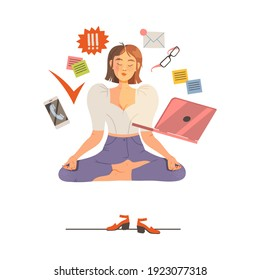 Young Female Sitting in Yoga Pose Resting from Multitasking as Time Management Vector Illustration