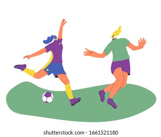 Young female soccer players wearing in uniform playing together. Women football athlette dressed in sportwear and boots with sport ball. Vector flat character.
