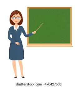 Young female teacher pointing on chalkboard. education theme cartoon illustration. vector