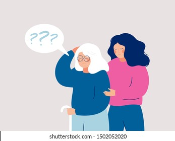 Young female volunteer is caring for an elderly person with dementia. Senior woman leans on a cane, and a social worker supports and helps her. Flat style vector illustration