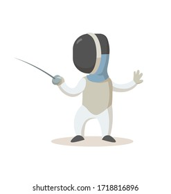Young fencer with sword, cartoon character standing. Sport and fitness. Colorful cartoon flat vector illustration. Isolated on white background.