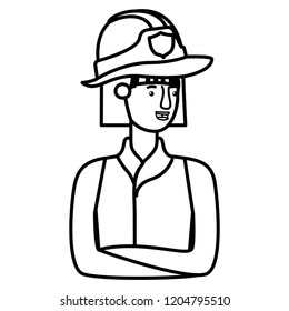 young firewoman avatar character