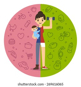 Young fit mom holding a baby boy on the left and in fitness gear with a dumbbell on the right. Background is divided in two theme patterned parts. Cute and simple modern flat cartoon style.