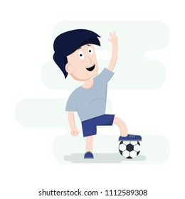 Young Football player. Funny Cartoon Character