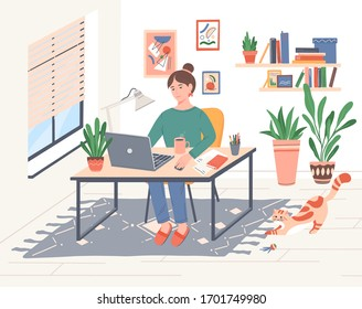 Young freelancer woman working online at her home office during COVID-19 quarantine.Girl sitting at the table with laptop computer, cat wants to play.Daily life of freelance worker vector illustration
