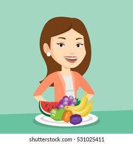 Young friendly woman standing in front of table woth fresh fruits. Smiling woman with plate full of fruits. Caucasian woman eating fresh healthy fruits. Vector flat design illustration. Square layout.