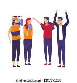 Young friends cartoon