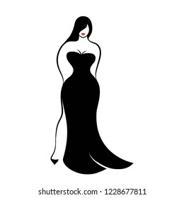 a young full-figured woman in an elegant long form-fitting black evening dress