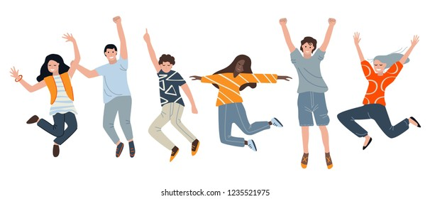 Young fun people boys and girls happily jump, raising their hands isolated vector illustration on white background. The group of positive characters of color illustrations in the style of flat.