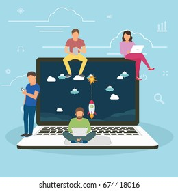 Young gamers playing a game on big laptop with game app, Flat vector illustration of young gamers playing a game using laptop, smarthphone and tablets