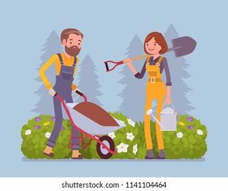 Young gardeners working. Happy man and woman in a green garden with wheelchair, spade, growing and taking care of plants, cultivates homegrown flowers, veggies. Vector flat style cartoon illustration