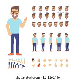 Young geek man constructor. Front, side, back, 3/4 view animated character. Cartoon style, flat vector illustration.