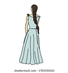 Young girl is back's turned in blue wedding dress with yellow flower and long brown braid. Vector stock illustration in cartoon style.