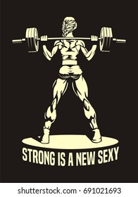 young girl with barbell, squats, female fitness, vector image