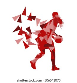 Young girl basketball player vector background abstract concept illustration made with polygon fragments isolated on white