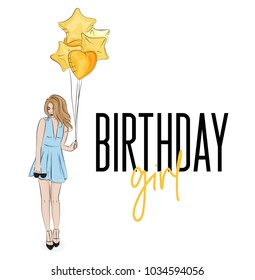 Young girl in beautiful blue dress with golden baloons birthday illustration. Vector fashion print woman and air balons. Modern holiday sketch decoration. Cute invitation.