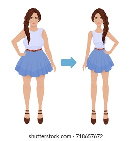 Young girl before and after diet and fitness. Weight loss. Fat and thin woman, body transformation. Vector illustration, isolated on white background.