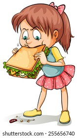 Young girl with a big sandwich on a white background